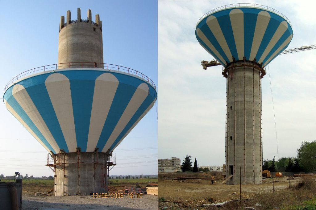 Watertower shafts executed with slipform. Heavy lift of concrete tank